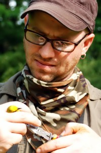Banding a Blue-winged Warbler in Southbury, CT.